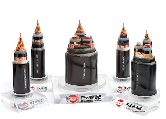 8.7/15 kV XLPE Insulated Electrical Cable , 1-, 3- Core Underground ...