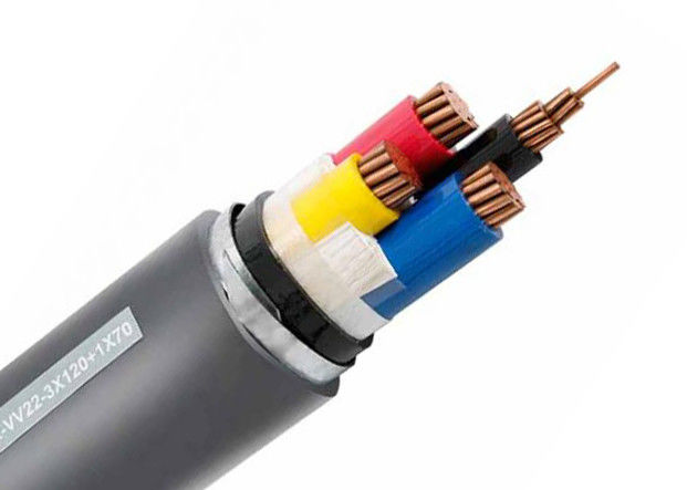 Black Sheath Colour Steel Armoured Cable , Low Voltage Armored Cable Eco Friendly