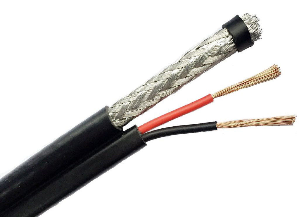 HD Camera RG6/U Copper Coaxial Cable 95% Coverage With Power Feed Wire